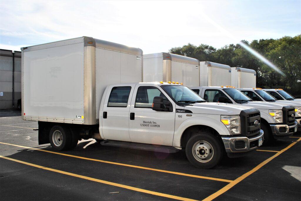 Merrick's fleet of recycling pick up trucks